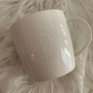 Starbucks 2009 White Embossed Mermaid logo Mug